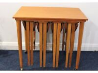 Poul Hundevad vintage nested tables, 4 folding under trolley