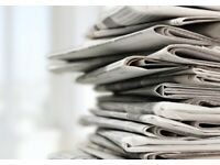 WANTED for FREE- OLD NEWSPAPERS/TABLOIDS - for cleaning and gardening - no glossy