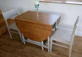 Gateleg Dining Table and 4 newly upholstered chairs