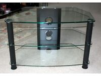 Clear Glass and Black TV Stand