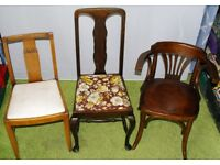Range of Chairs from £5 - £35 each Bentwood Captain Dining Windsor Pub Queen Anne Pine cave Ilkeston