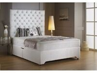 LUSH DESIGN-- PREMIUM ROYAL DIVAN DOUBLE BASE WTH 1000 POCKET SPRUNG MATTRESS HEADBOARD AND DRAWERS