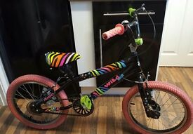 "Girls 18"" zebra wild one bike black & rainbow coloured with pink tyres & bell"