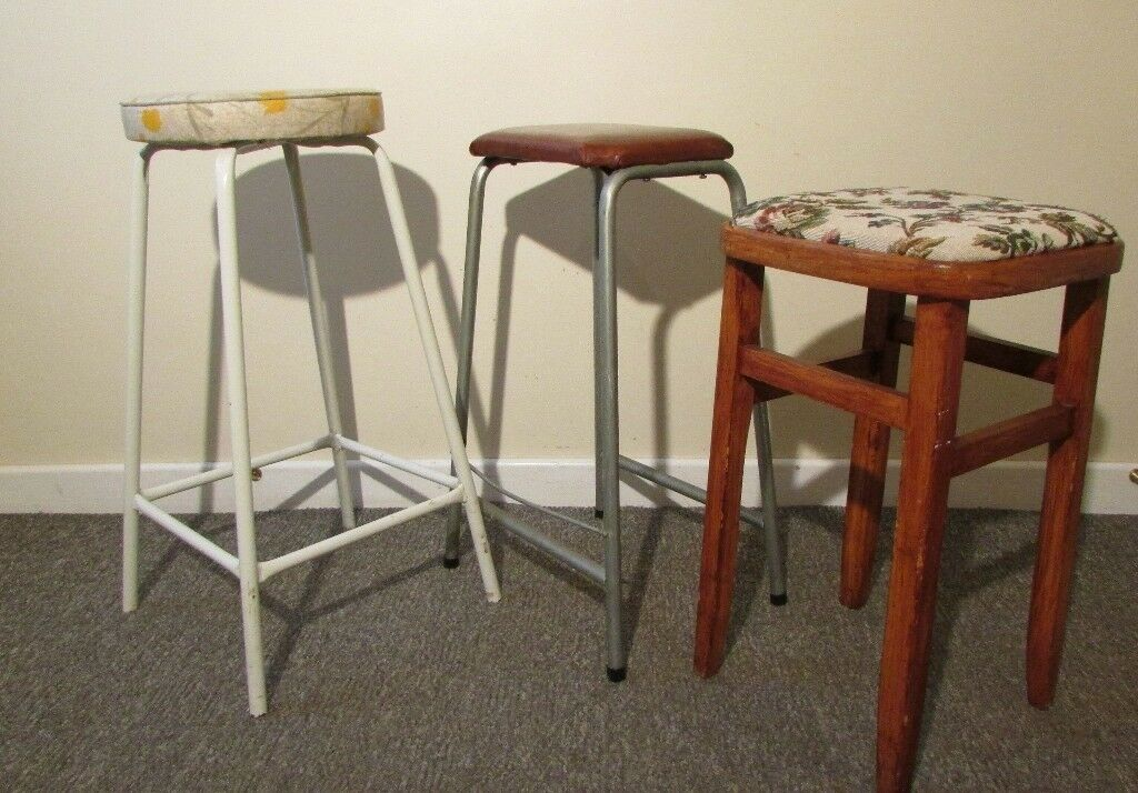 3 Retro High Stools Wooden And Metal Seats Vintage Chair