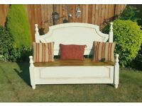 Bespoke shabby chic bench, beautifully crafted from a double bed