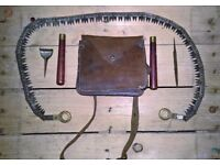 COMPLETE ORIGINAL WW1 1917 TRENCH WAR CHAIN SAW & LEATHER CASE by FRANCIS WOOD & SON SHEFFIELD