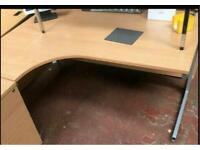 1600mm Left Curve Desk - Beech