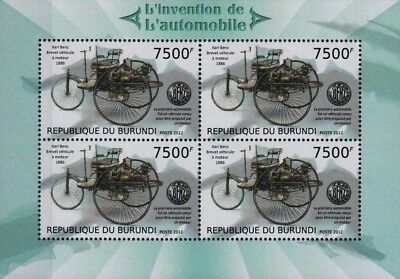 1886 Karl Benz Motorwagen Carriage Car 4 Value Stamp Sheet  2012 Burundi