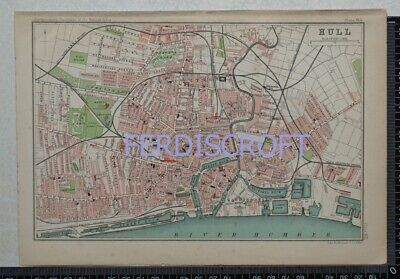 1904 Vintage Bartholomew Map Plan of Hull