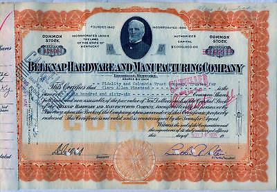 Belknap Hardware & Manufacturing Company Stock Certificate Louisville Kentucky