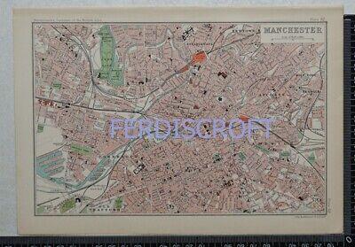 1904 Vintage Bartholomew Map Plan of Manchester