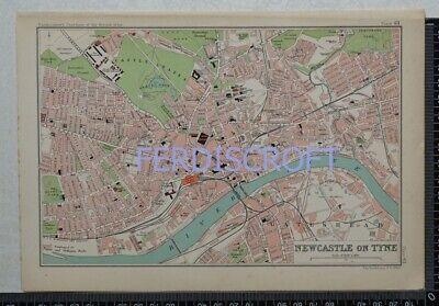 1904 Vintage Bartholomew Map Plan of Newcastle on Tyne