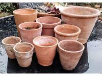 Various vintage terracotta pots
