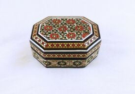 small Persian khatam wooden box. decorated with Persian inlay techniques. FREE shipping