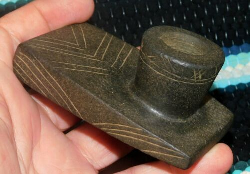 Beautiful Fine Butler Co Ohio Incised Stone Platform Peace Pipe Arrowhead 002