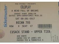 X1 Coldplay seated ticket (Croke Park, July 8th 2017)