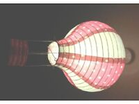 Paper lampshade in style of hot air balloon