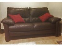 Brown Leather Sofa, 2 Seater