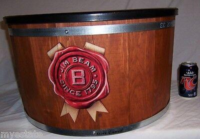 NEW LARGE JIM BEAM BARREL ICE TUB Cooler Wood, Metal, Plastic Lining, Drainplug - Plastic Ice Tub