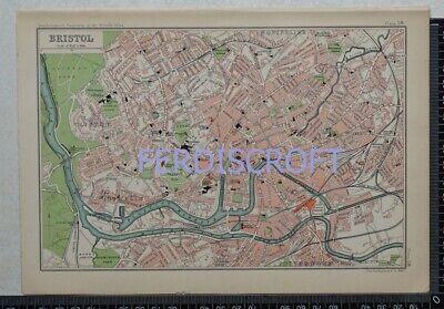 1904 Vintage Bartholomew Map Plan of Bristol