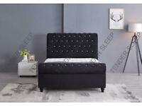 Decore Your Dreams-King Size Plush Velvet Ottoman Storage Sleigh Bed Frame in different Colors