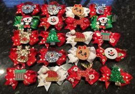 """Christmas hair bow clips 3"""""""