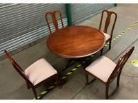 ROUND WOODEN TABLE & 4 CHAIRS