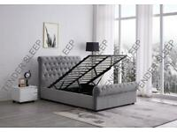 King Size Plush Velvet Ottoman Storage Sleigh Bed Frame in Silver, Black and Champagne Colors