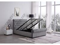 Sleigh Bed - High Quality - Velvet Double Bed/King Size Bed Frame Storage Option Available
