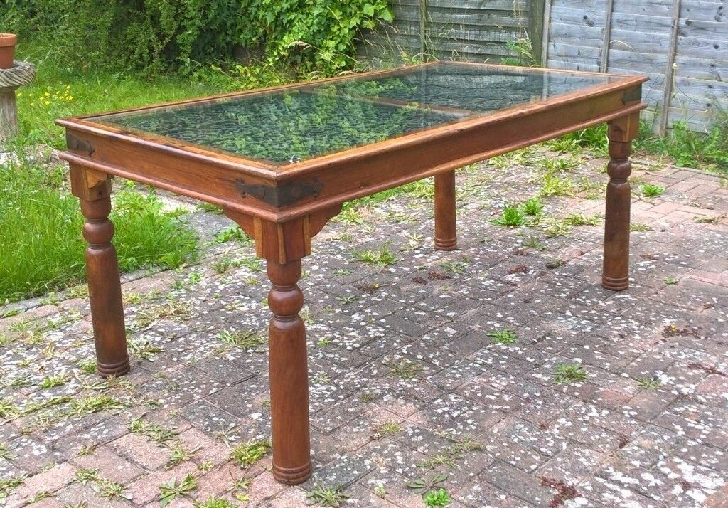 Beautiful Indian Sheesham Solid Wood Dining Table With Jali Wrought Iron And Gl Centre In Sham By Sea West Sus Gumtree