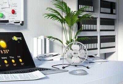 USB Ventilador de Mesa Con Silencioso Y Energía Eficaz Motor Eléctrico Plata