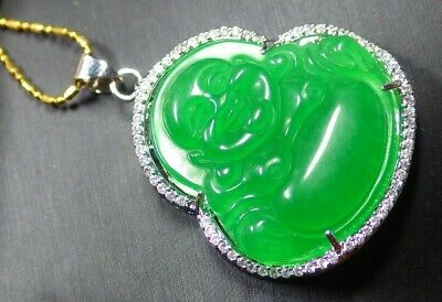 White Gold Plate Green JADE Pendant Buddha God Necklace Diamond Imitation - Green White Gold Necklace