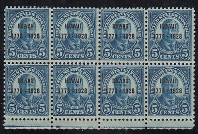 US Scott #648, 5c Roosevelt Hawaii Overprint Block of 8, MNH, Cat $210+
