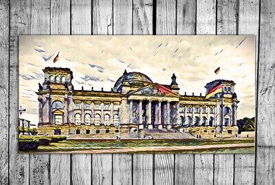 Tag Leinwand (LEINWAND BILD KUNSTDRUCK Berlin Reichstag  Wandbild 40x20 cm tolle GESCHENKIDEE)