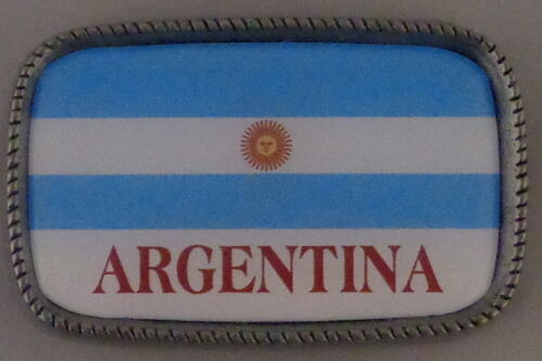 ARGENTINA FLAG Antique Silver Belt Buckle USA MADE Argentinian