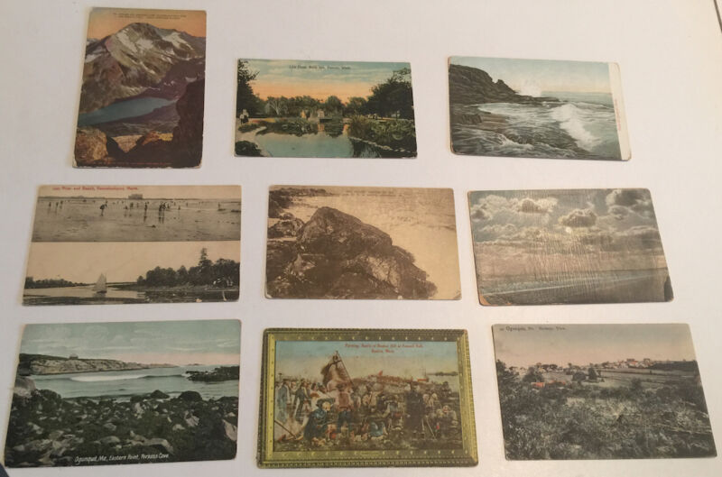 9 OLD POSTCARDS 1 MT JACKSON GREAT NORTHERN RAILROAD 1 DETROIT 6 MAINE 1 BOSTON