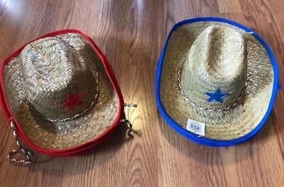 Child Blue Red Cowboy Straw Sheriff Hat Western Costume Accessory NEW (Children's Cowboy Hats Bulk)