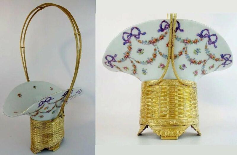 "16"" Antique Bronze Porcelain Basket"
