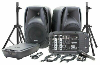 Gemini Speaker ES-210MXBLU ST Bluetooth Portable PA System With Mixer & 2 Stands