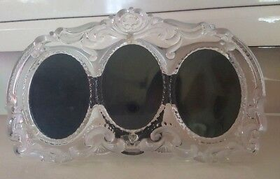 MIKASA PRINCESS TRIPLE OVAL PHOTO PICTURE FRAME CLEAR AND FROSTED DESIGN for sale  Morganville