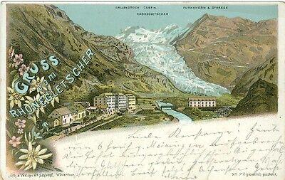 Rhonegletscher, Farb-Litho, 1897