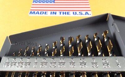 """Drill Hog USA 13 Pc HI-MOLY M7 Drill Bit Set 1/16""""-1/4"""" Drills Lifetime Warranty"""