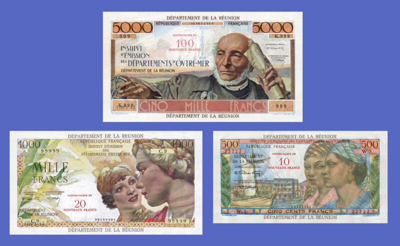 REUNION - Lots of 3 notes - 500...5000 Francs - Reproductions