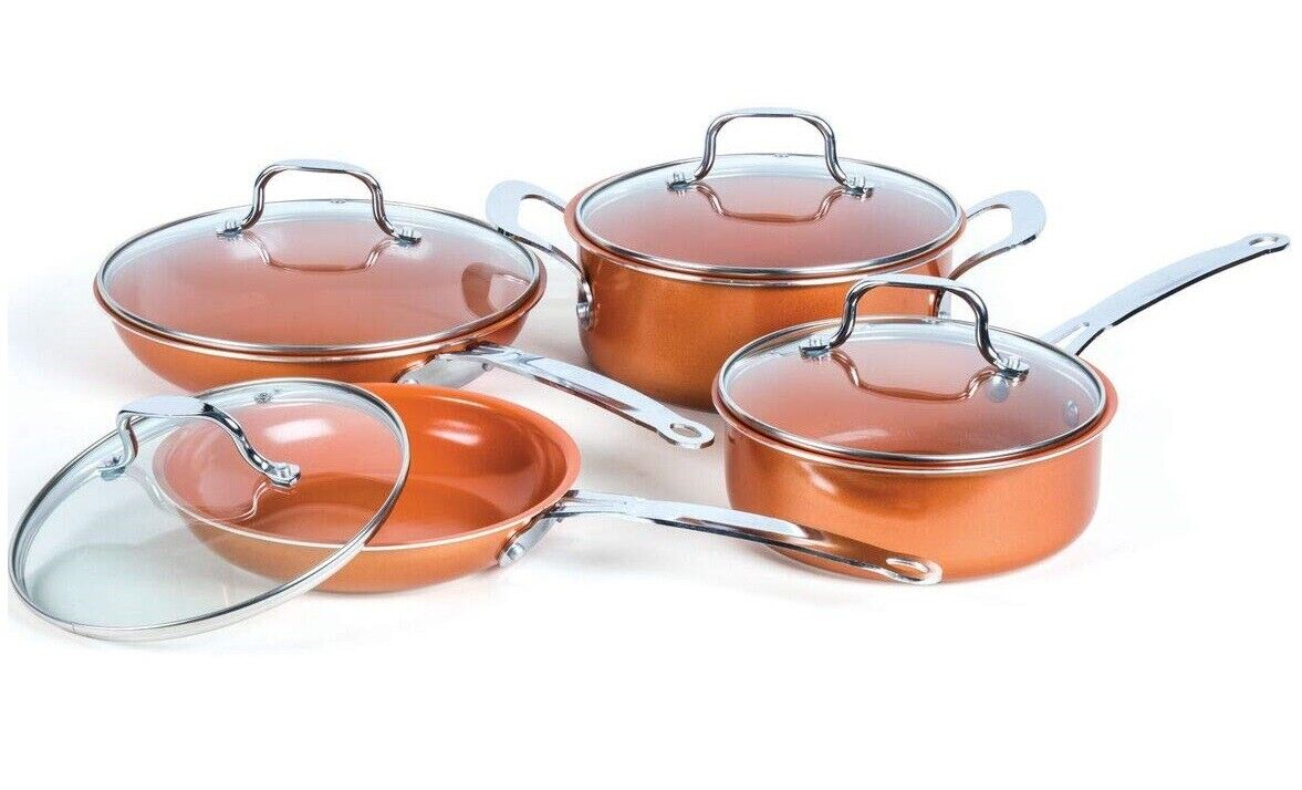 8-Piece Copper Induction Ceramic Nonstick Coating Alum/Stain