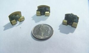 MOLDAVITE 3 Meteorite Stones in Gold Tone Metal Stands Dug From Czech Republic