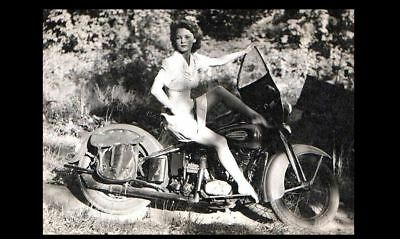 - Vintage Sexy Harley Davidson Motorcycle Girl PHOTO Rider Hot Pinup Barefoot Legs