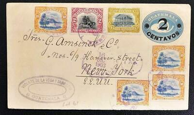 GUATEMALA to USA 1903 Lovely Multi-uprated Stationery Cover G-City to Amsinck NY