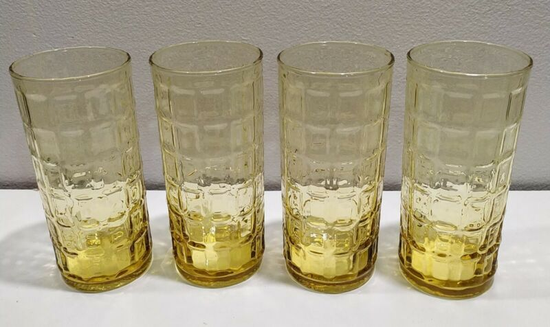 "VINTAGE 4 AMBER drinking GLASSES squares yellow amber WATER TUMBLERS 16oz 6""h"