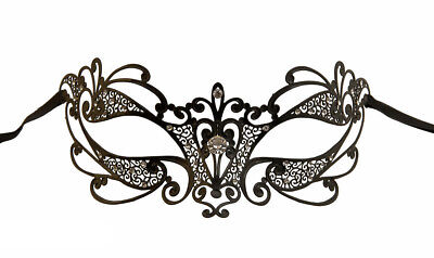 Mask Venice Flora with Rhinestone Venetian Lace Metal Black 423