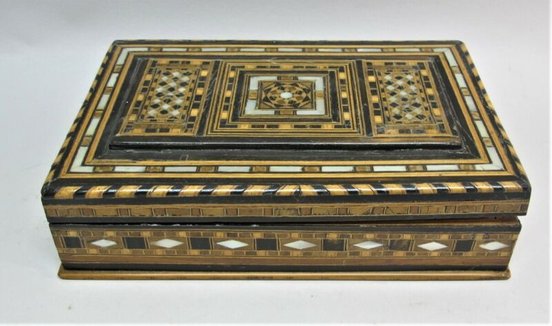 Antique MIDDLE-EAST Inlaid Backgammon Chip Box w/ Poker Chips c. 1920s  Persian